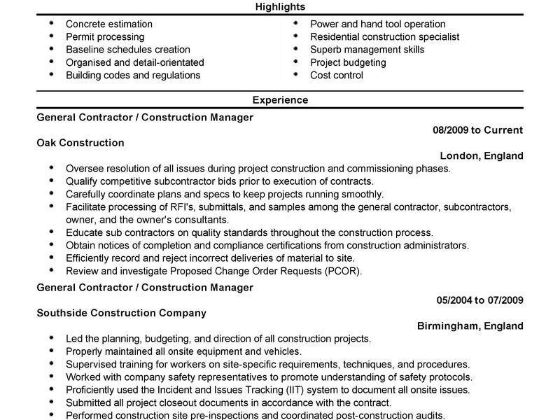 Pretentious Idea General Contractor Resume 2 Best General ...