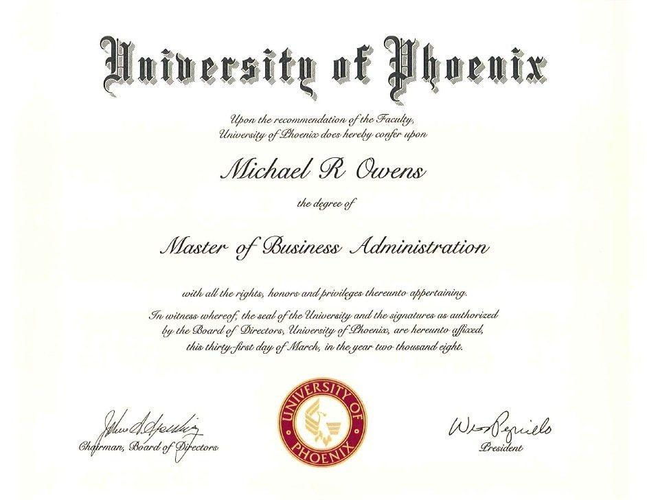 of phoenix diploma & transcript