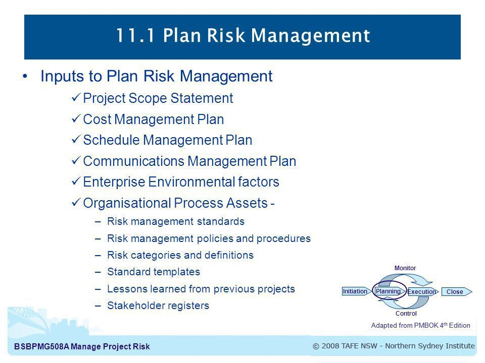 Risk Plan. 11 1 Plan Risk Management Inputs To Plan Risk ...
