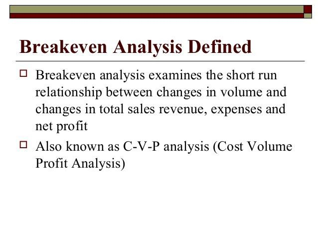 Breakeven analysis 0