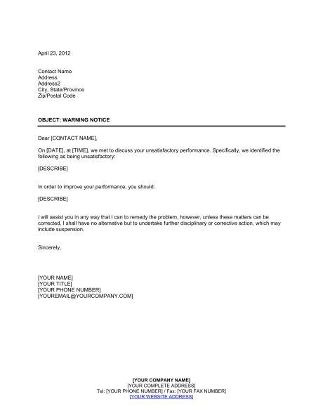 Warning Notice - Template & Sample Form | Biztree.com