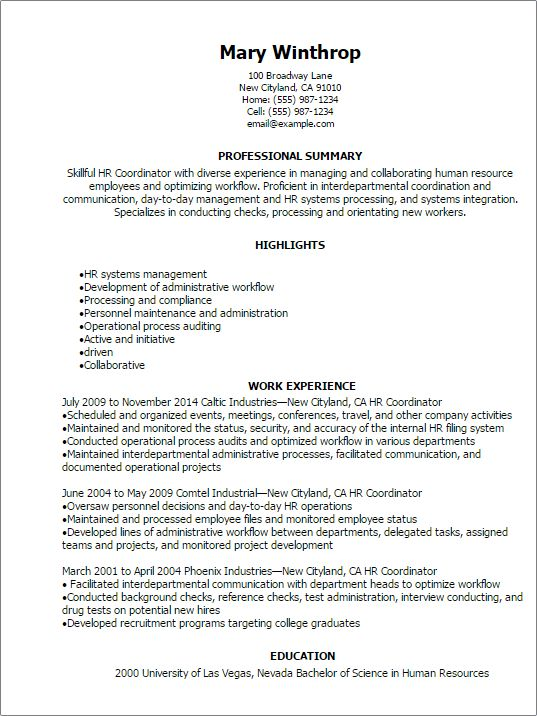 Professional Hr Coordinator Resume Templates To Showcase Your ...