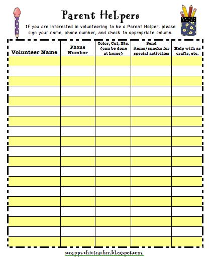 parent volunteer sign up sheet - thebridgesummit.co