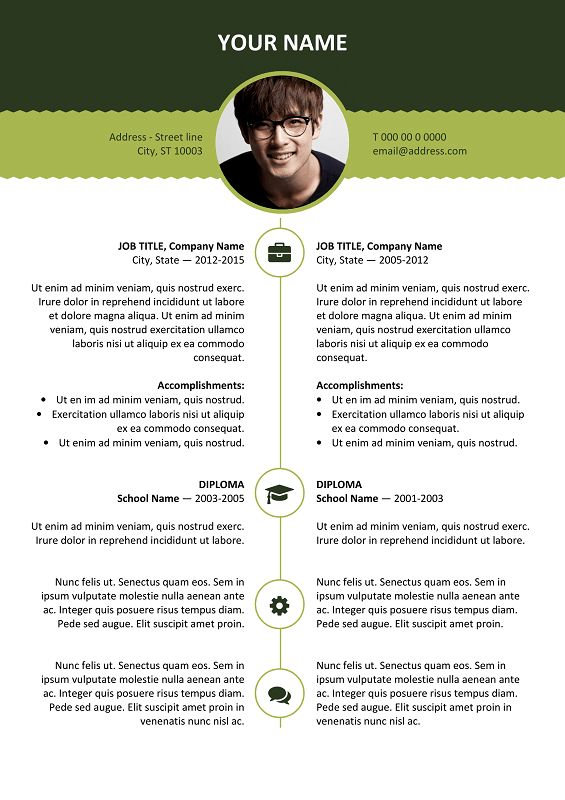 Esquilino Free Resume Template Microsoft Word - Green Layout ...