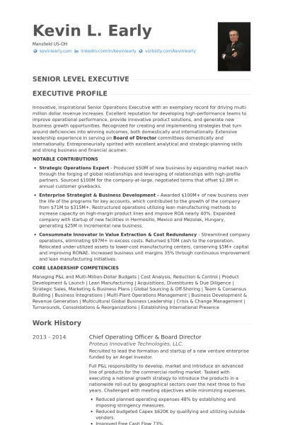 Chief Operating Officer Resume samples - VisualCV resume samples ...