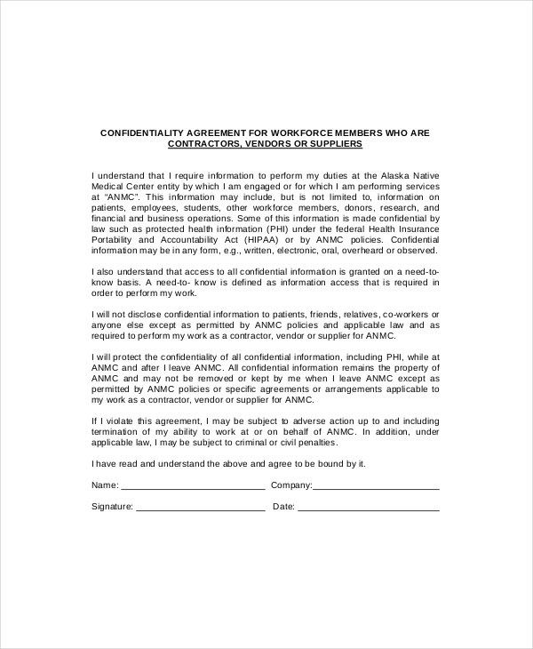 10+ Vendor Confidentiality Agreement Templates – Free Sample ...
