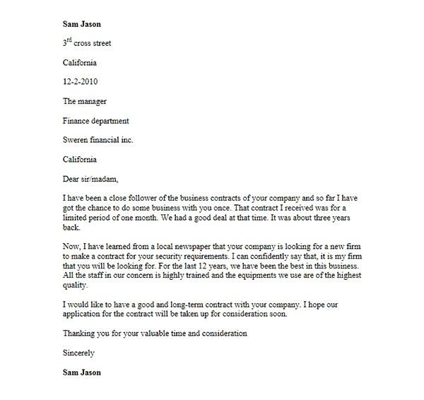 Cover Letter Template for Contract Application, Format of Contract ...