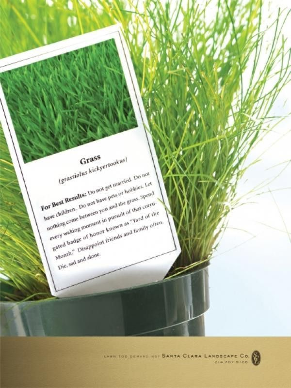 "Landscape Service: ""GRASS"" Print Ad by DDB Dallas"