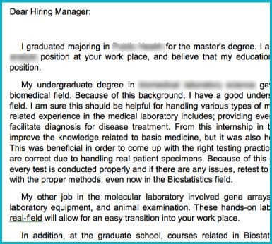 Cover Letter Editing Services