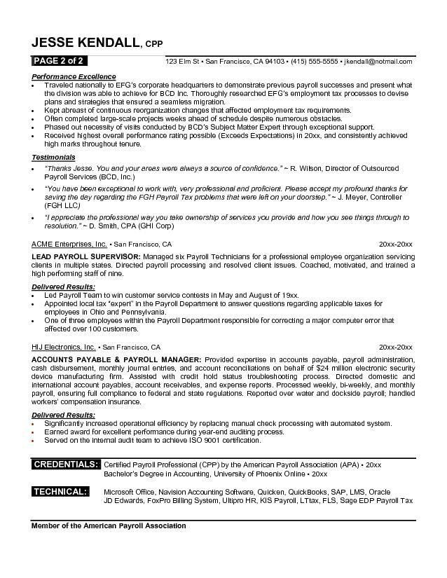 professional resume examples free payroll professional resume ...