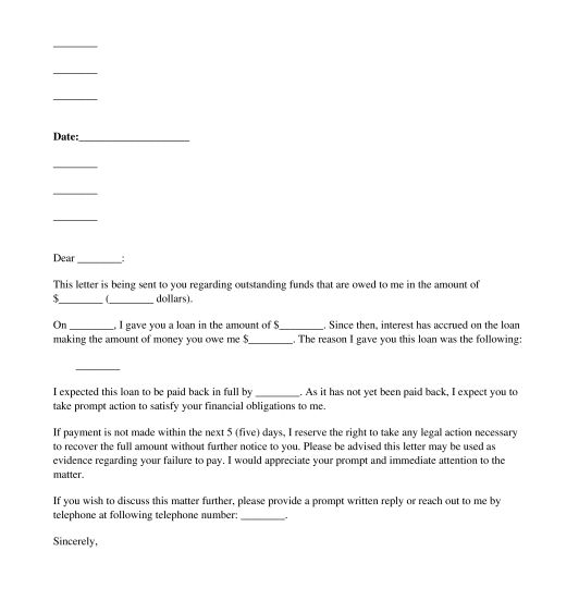 Monetary Demand Letter - Template - Word & PDF