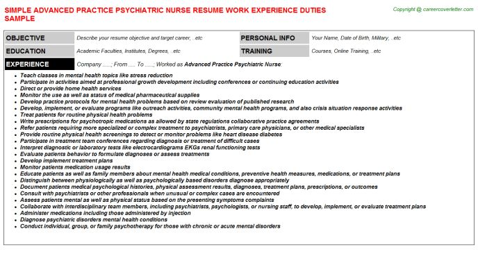 Advanced Practice Psychiatric Nurse Job Title Docs