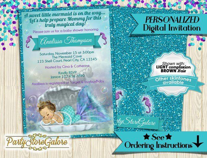 Mermaid Baby Shower Invitations Little Mermaid Under the Sea