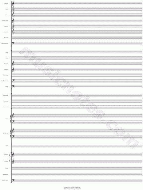 Blank Sheet Music Orchestra - Calendar
