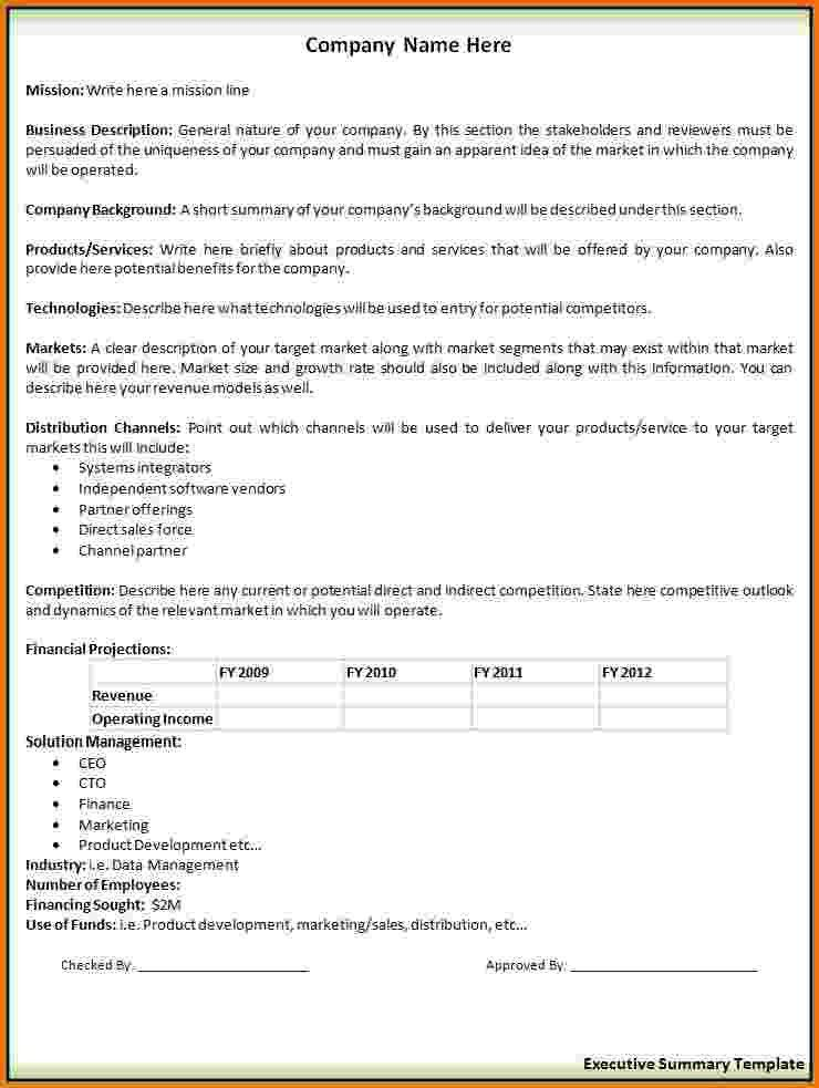 9+ executive summary sample | Financial Statement Form