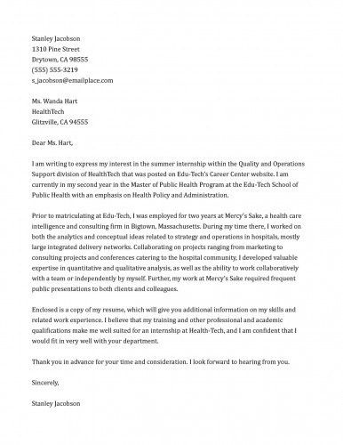Sample Internship Cover Letter Examples Cover Letter For ...