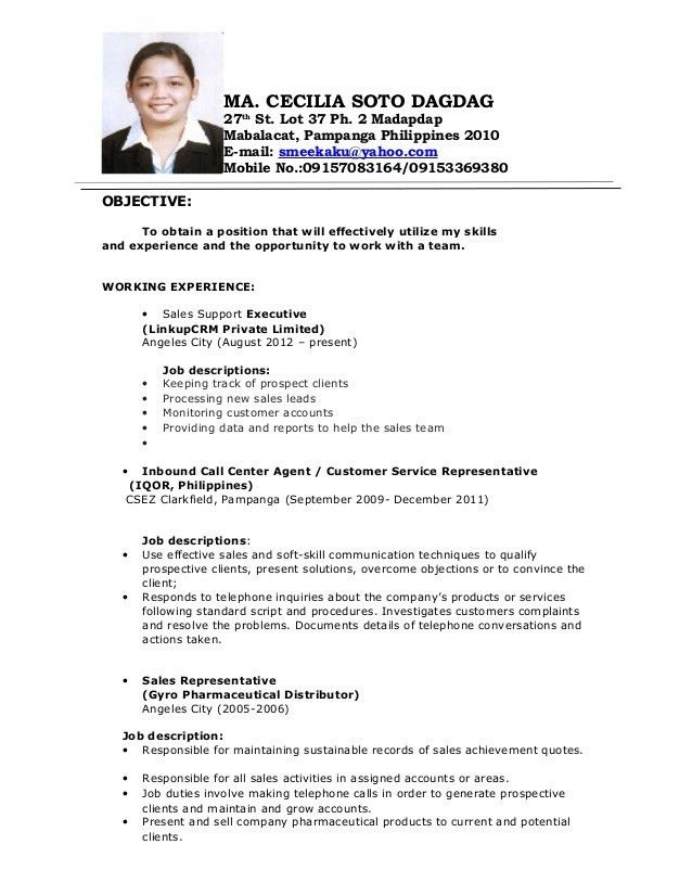 Sample Objectives In Resume For Call Center Agent #10256