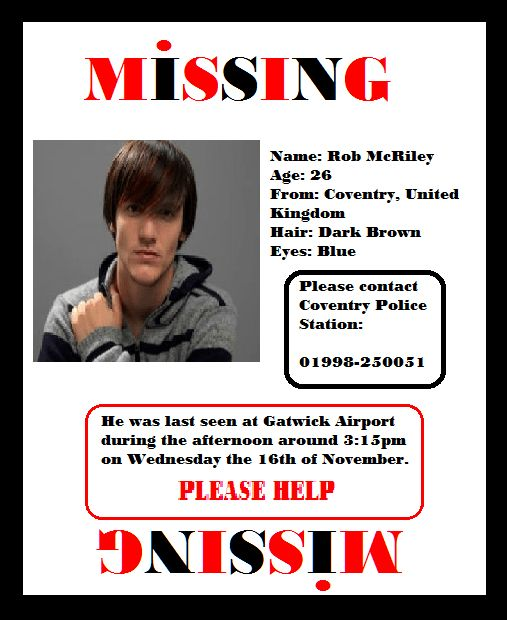 Creating a missing Poster for Rob McRiley (post 1 ...