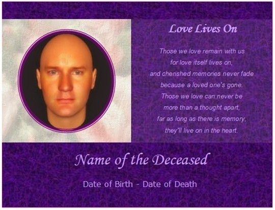 Memorial Cards Template | The Letter Sample