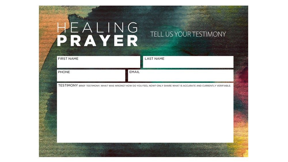 Healing Prayer Card — Vintage Church Resources