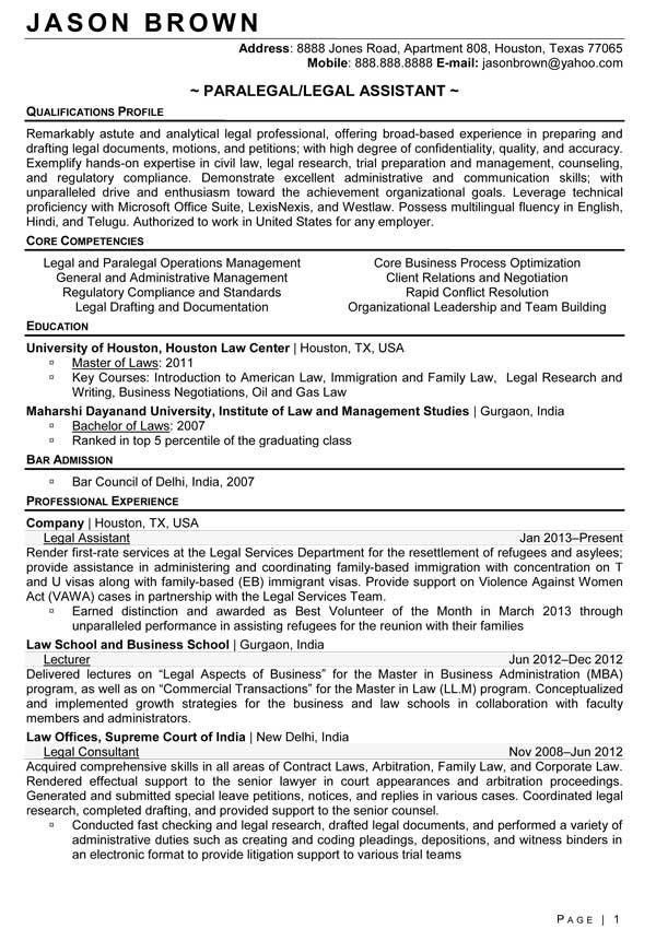 immigration paralegal resume sample