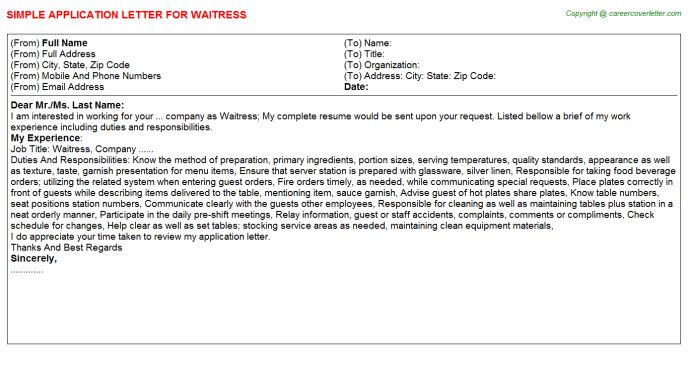 Waitress Application Letters