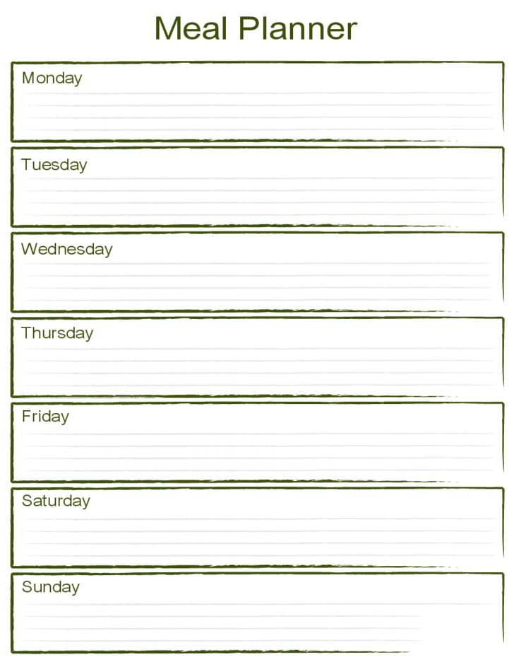 blank monthly menu planner template