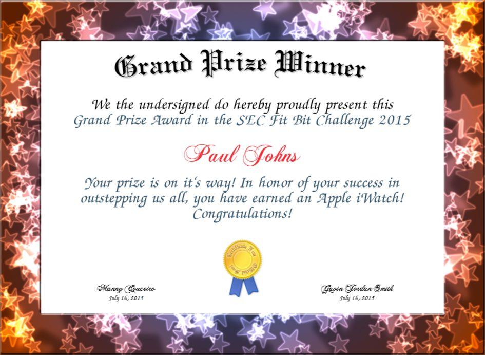 Grand Prize Winner Certificate | Created with Certificatefun.com