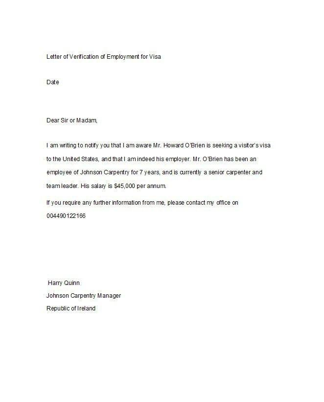 Sample Verification Of Employment Letter | The Letter Sample