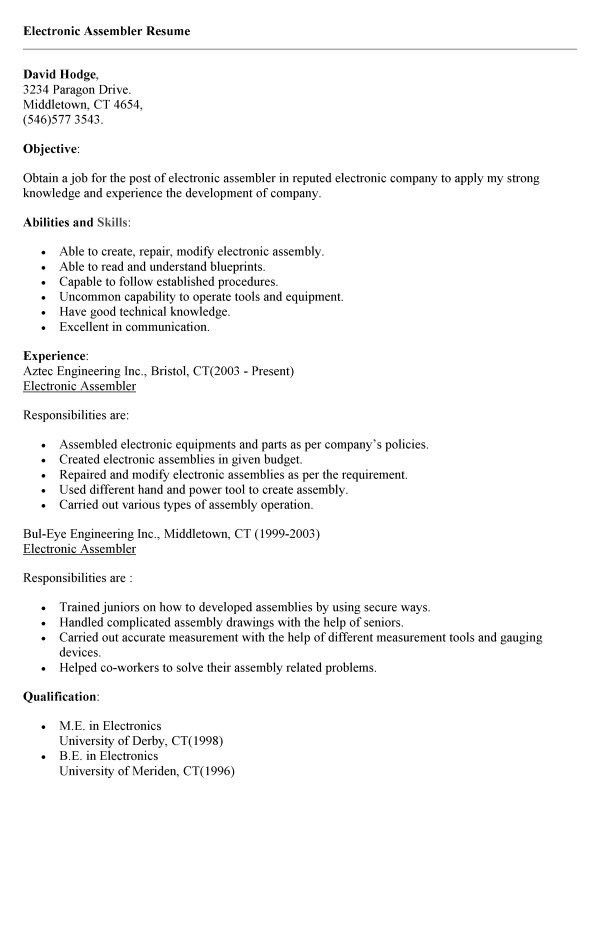 assembler resume examples