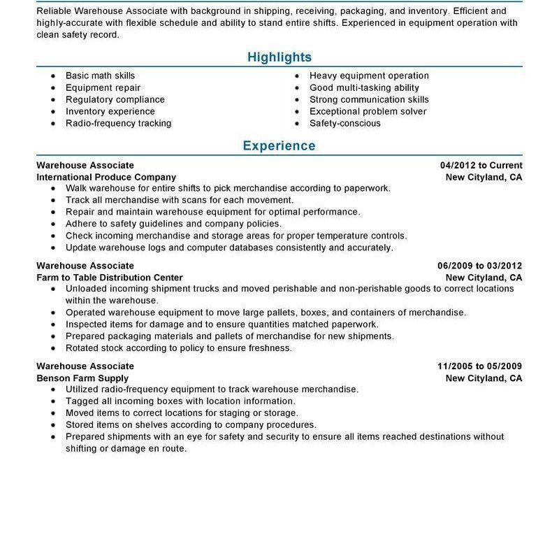 100+ [ Warehouse Resume Template ] | Warehouse Worker Resume ...