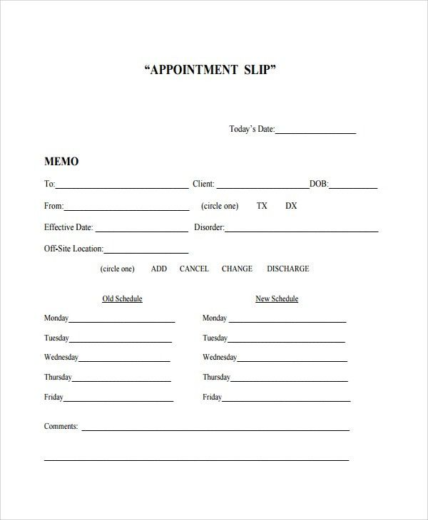Sample Appointment Slip Template - 7+ Free Documents Download in ...