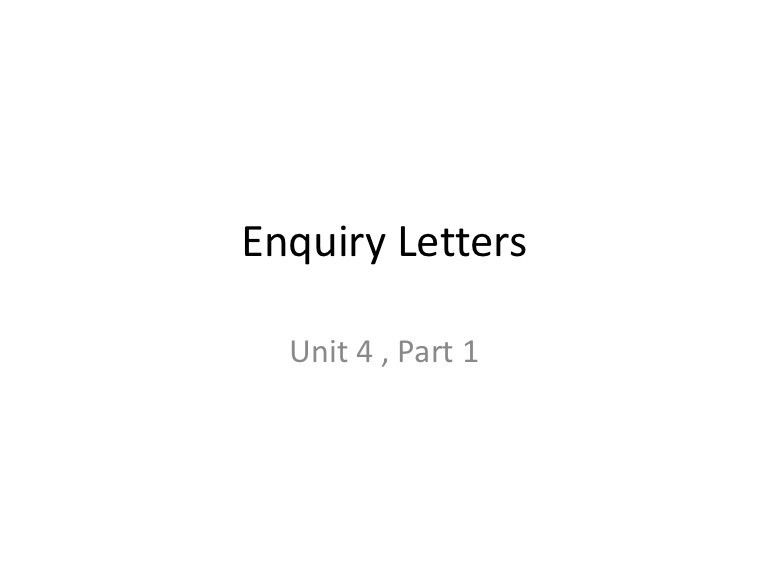 Enquiry letters