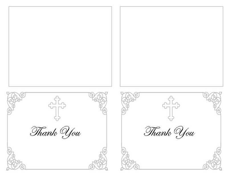 Funeral Thank You Card Templates Grey Ornate Cross