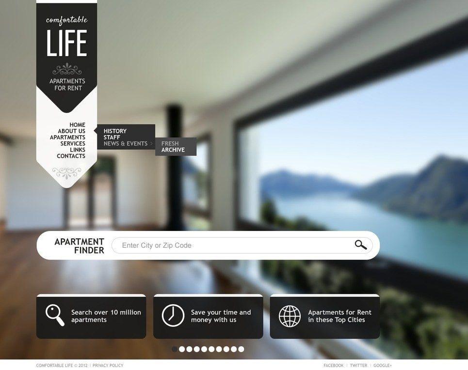 Website Template #40280 Life Apartments For Custom Website ...