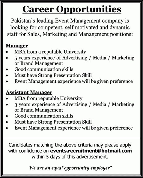 Event Management Company Jobs in Pakistan 2013 August for Managers ...