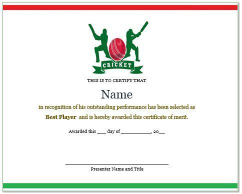 22 Well-designed Cricket Certificate Templates : Free Word ...