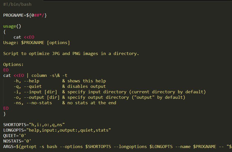 Optimizing images with Bash script