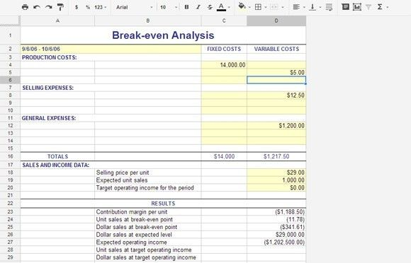 28+ [ Break Even Point Excel Template ]   Break Even Analysis 10 ...