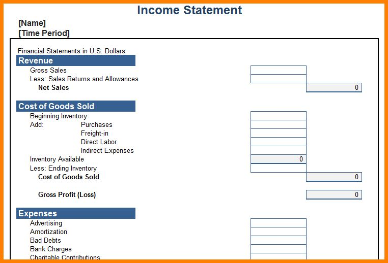 6+ blank income statement template | Case Statement 2017