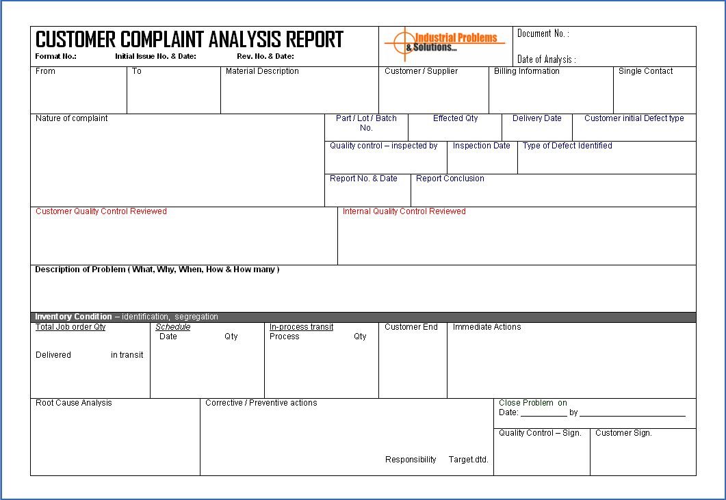 Customer Complaint Analysis Report Format