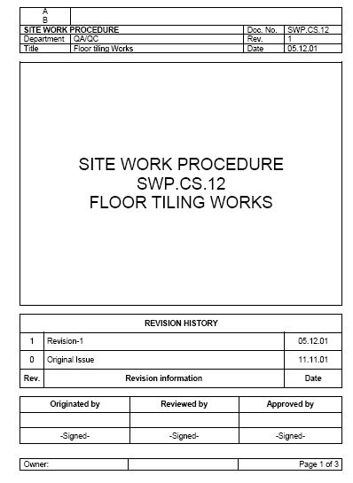 FLOOR TILING WORKS - Method Statement
