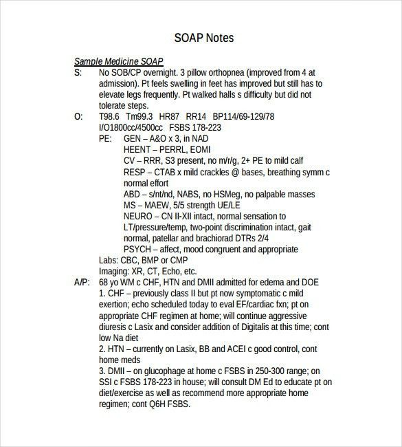 soap note sample