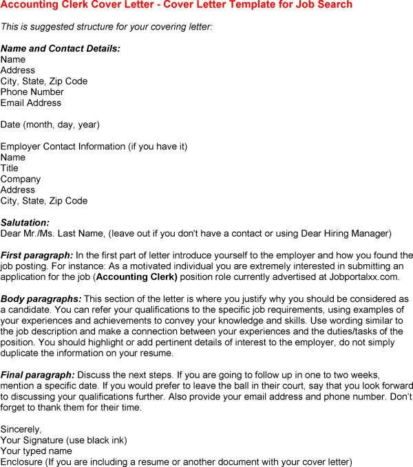 Accounting Clerk Cover Letter Accounts Payable Clerk Cover Letter ...