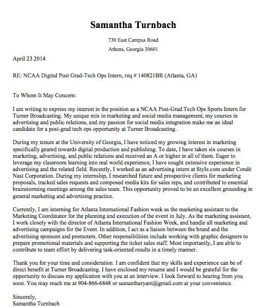 Cover Letter for Turner Broadcasting, NCAA Digital Post Grad ...