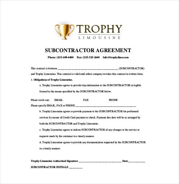 10+ Subcontractor Agreement Templates – Free Sample, Example ...