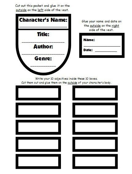 Character Body Book Report Project: templates, worksheets, rubric ...