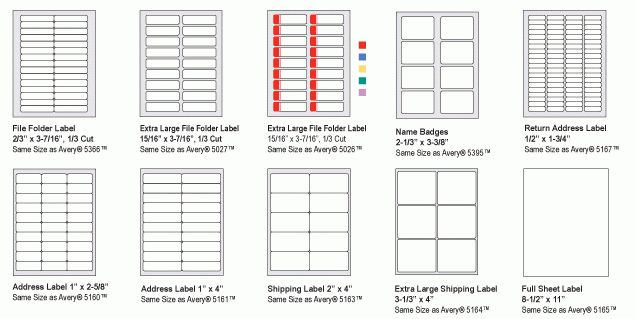 avery printing labels