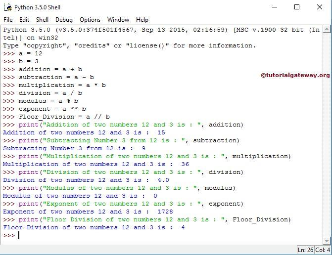 Python Arithmetic Operators