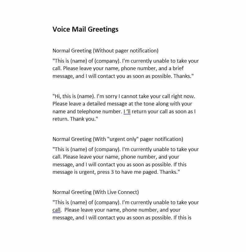 Voice Mail Message Template - Ecordura.com